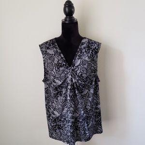B2G1 Apt. 9 Woman Black Lace Pattern Dressy Tank